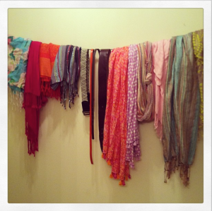 Starting to doubt my decision to switch out my winter scarves for my light, colorful spring scarves...