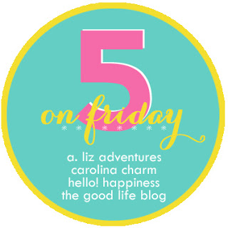 Five on Friday! Courtesy of Christina of Carolina Charm, Darci of The Good Life, April of A. Liz Adventures, and Natasha of Hello! Happiness