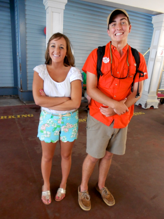 Sibling bonding: Corey actually clipped us together with something on his shorts or back pack... Can't ya tell I'm happy about it?!