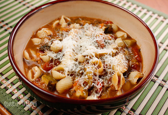 Shell noodles plus cheese always equals a win in my book! As soon as it gets a little chilly outside, I'm making this minestrone.