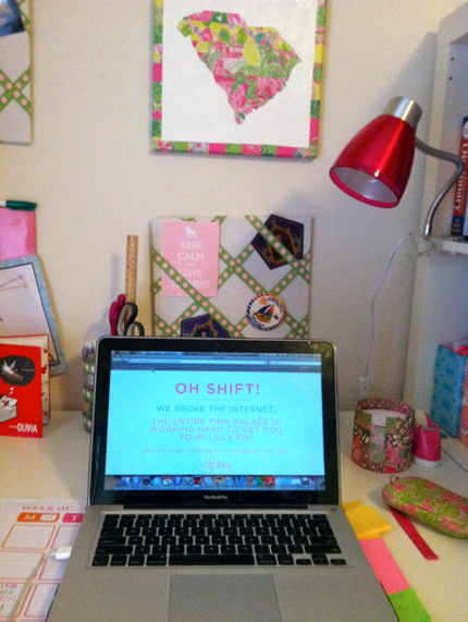 """Oh shift!"" At least Lilly Pulitzer was clever with their broken-site message. (Side note: I spy several Lilly things already...)"