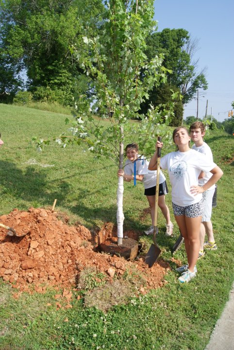 You know what they say: Friends that plant trees as their senior project together, stay together. Seth, Madison ,and I beautify our town.