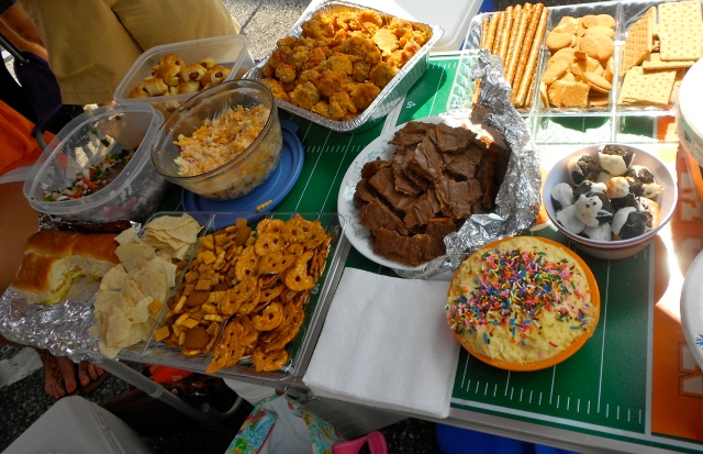 Our delightful spread! My contributions: white chocolate dipped pretzel rods, pretzel crisps (for pimento cheese I knew would be there), cake batter dip, and graham crackers and Nilla Wafers for said dip!