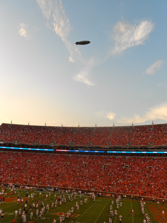 Obligatory Good Year Blimp shot during the warm up- the stadium is already getting pretty full at this point!