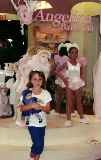 Here I am just lovin' life at the American Girl Store (back when there was only one, in Chicago!) with my favorite American Girl doll: my Bitty Baby named Emily!