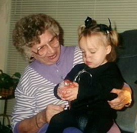 Classic kitty-cat costume with my Great Grammy!