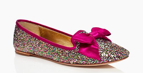 Goodness gracious, these Kate Spades are something else! Colorful, sparkly, and topped with a big pink bow, these are basically my spirit-shoes, but let's be honest: these are not meant for the real world. In an alternate universe where I had plenty of play money to throw around, I'd buy these sassy, $238 flats.